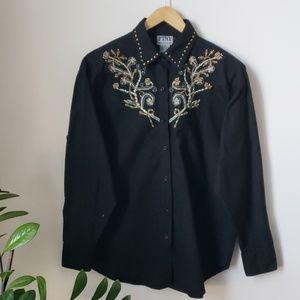 Vintage 90s Embroidered Embellished Western Top